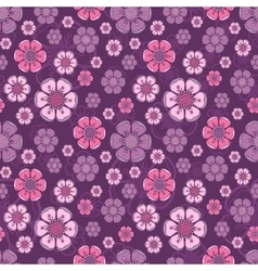 Fashion pattern with flowers in retro color vector image