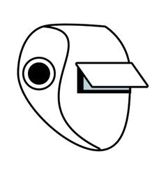 Outline welder mask eyes security sign vector