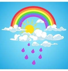 Rainbow and clouds with falling rain blue vector