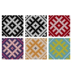 Set of north knitting seamless patterns vector
