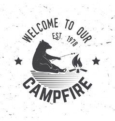 welcome to our campfire vector image
