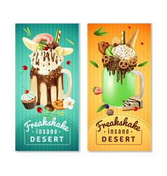 extreme freakshake insane dessert banners set vector image