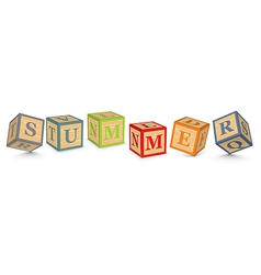 Word summer written with alphabet blocks vector