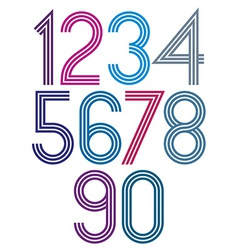 Rounded big colorful numbers with triple stripes vector