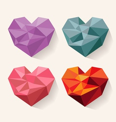 Geometrical heart love set of design elements vector