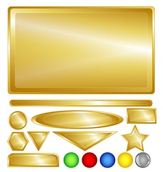 Gold web buttons and bars vector image