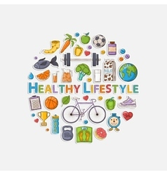 Healthy lifestyle sticker circle vector image