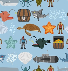 Ocean life seamless pattern shark and aquatic vector