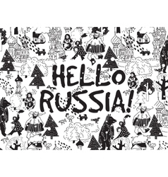 Hello russia black on white card snow and winter vector