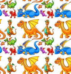 Seamless different type of dragons vector