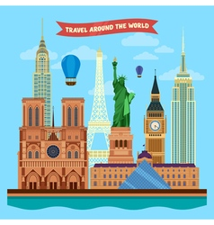 Traveling around the world banner vector