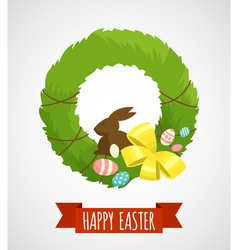 Easter card with easter wreath isolated vector