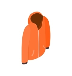 Orange hooded sweatshirt with zipper icon vector