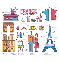 Country france trip guide of goods places in thin vector