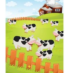 Cows on a farm vector