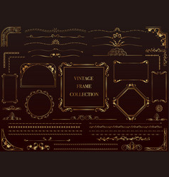 Assorted gold vintage frames vector