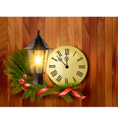 Christmas background with a lantern and a clock vector