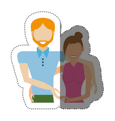 Couple relationship lovely shadow vector