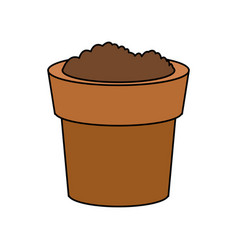 Dirt or soil in pot icon image vector