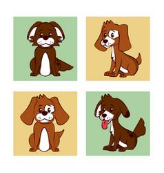 dogs cartoon icons vector image