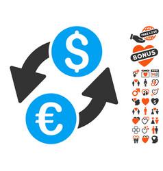 Euro dollar exchange icon with valentine bonus vector