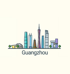 flat line guangzhou banner vector image