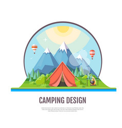 Flat style design mountains landscape and camping vector
