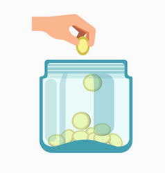 Glass jar and hand dropping coins into it isolated vector