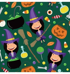 Halloween background with teenager and magic tools vector