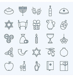 Line holiday happy hanukkah icons set vector