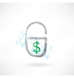 Lock money grunge icon vector image vector image