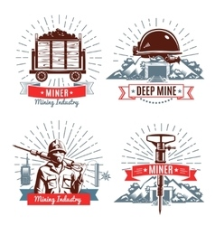 Mining Emblems And Design Elements vector image vector image