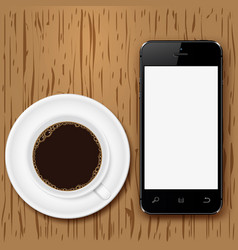 mobile phone with blank screen and coffee cup on vector image vector image