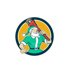 Muscular santa plumber monkey wrench circle vector