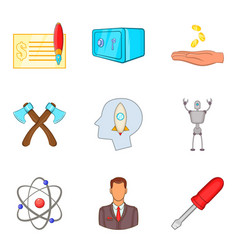 productive work icons set cartoon style vector image