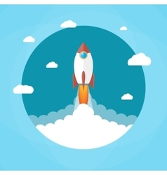 Rocket in the clouds start up concept vector