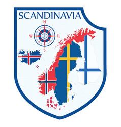 Scandinavian design heraldic shield a background vector