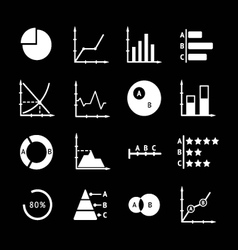 Set icons of diagrams and charts vector image