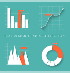 set of flat design statistics charts and graphs vector image vector image