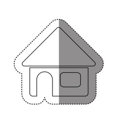 Sticker of monochrome contour of house in white vector