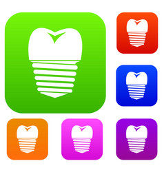 Tooth implant set collection vector