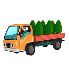 Truck with thuja vector