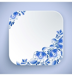 White rounded square icon with floral ornament vector
