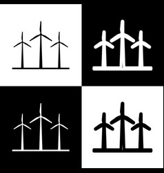 Wind turbines sign black and white icons vector