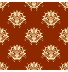 Yellow and ornage paisley seamless pattern vector