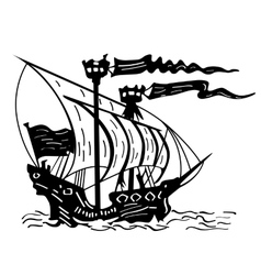 Black and white sketch of a sailing ship vector