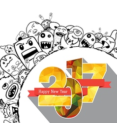 Happy new year 2017 Hand drawing Doodle Monster vector image
