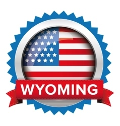 Wyoming and usa flag badge vector