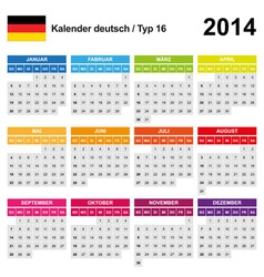 Calendar 2014 german type 16 vector