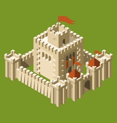 Isometric medieval castle with fortified wall vector